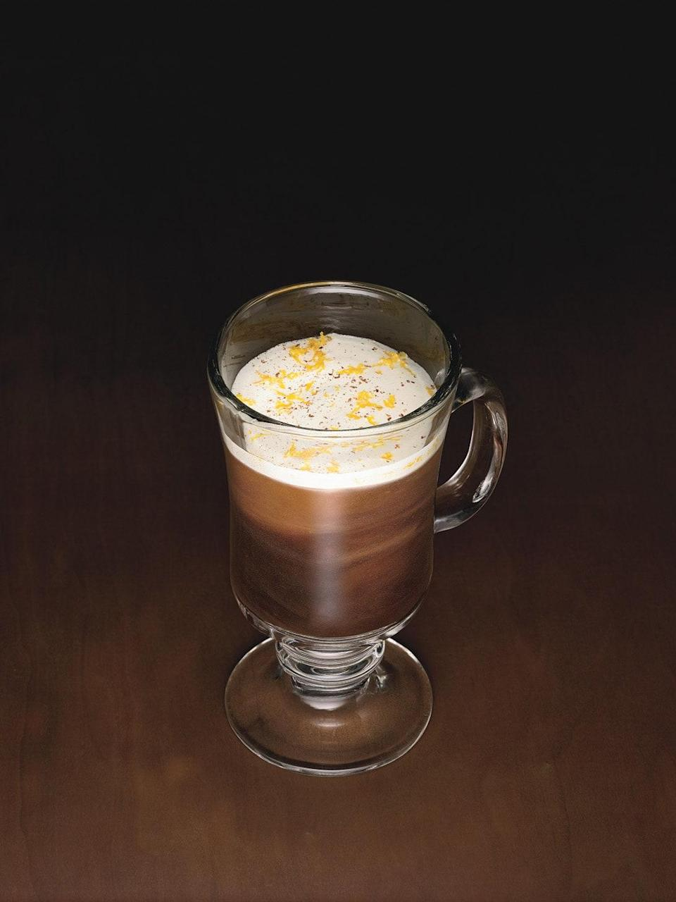 """This spiked coffee from Brooklyn's Fort Defiance is laced with dark rum, Cherry Heering liqueur, and brown sugar, with airy whisked cream on top. <a href=""""https://www.epicurious.com/recipes/food/views/koffie-van-brunt-355749?mbid=synd_yahoo_rss"""" rel=""""nofollow noopener"""" target=""""_blank"""" data-ylk=""""slk:See recipe."""" class=""""link rapid-noclick-resp"""">See recipe.</a>"""