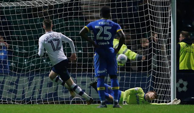 "Soccer Football - Championship - Preston North End vs Leeds United - Deepdale, Preston, Britain - April 10, 2018 Preston North End's Paul Gallagher scores his sides first goal Action Images/Craig Brough EDITORIAL USE ONLY. No use with unauthorized audio, video, data, fixture lists, club/league logos or ""live"" services. Online in-match use limited to 75 images, no video emulation. No use in betting, games or single club/league/player publications. Please contact your account representative for further details."