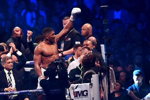 Britain's Anthony Joshua celebrates in the ring after his victory over Ukraine's Wladimir Klitschko in the eleventh round of their IBF, IBO and WBA, world Heavyweight title fight at Wembley Stadium in north west London on April 29, 2017 (AFP Photo/Ben STANSALL)