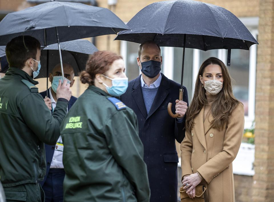 The Duke and Duchess of Cambridge during a visit to Newham ambulance station in East London. Picture date: Thursday March 18, 2021.