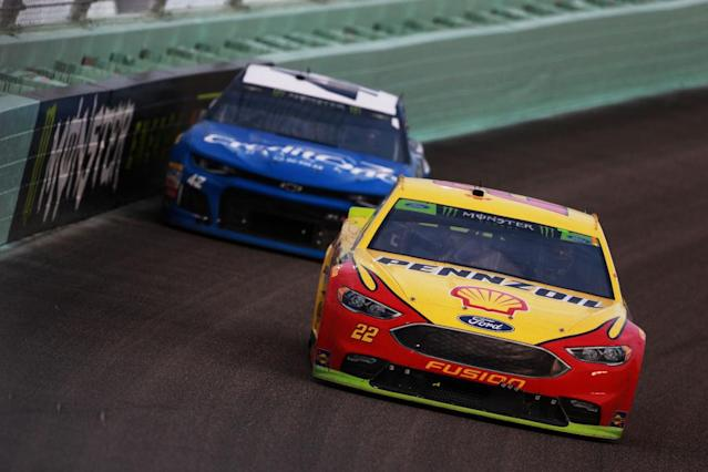Joey Logano held off the field to win the Monster Energy NASCAR Cup Series championship. (Getty)