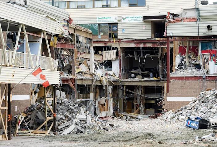 A photo shows ruins of the Algo Centre Mall in Elliot Lake, Ontario. It collapsed on June 23, 2012, killing two.