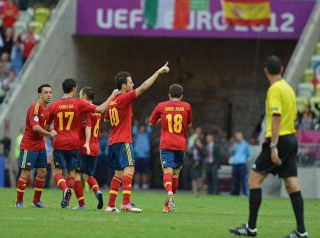 Spanish midfielder Cesc Fabregas (C) waves at the end of the Euro 2012 championships football match Spain vs Italy on June 10, 2012 at the Gdansk Arena. AFP PHOTO / GABRIEL BOUYSGABRIEL BOUYS/AFP/GettyImages
