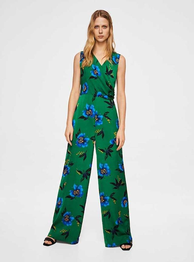 Green-and-blue floral jumpsuit. (Photo: Mango)