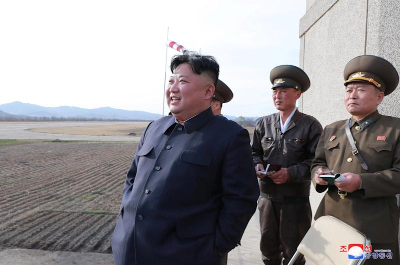 North Korean leader Kim Jong Un gives guidance while attending a flight training of the Korean People's Army Air Force at an undisclosed location Tuesday. (Korean Central News Agency (KCNA) via Reuters)