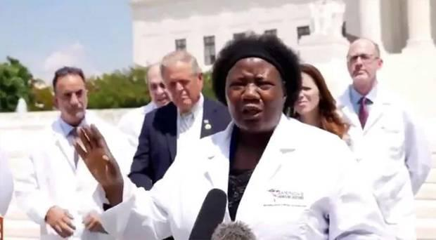 Dr Stella Immanuel with the controversial America's Frontline Doctors group in Madonna's Instagram video.