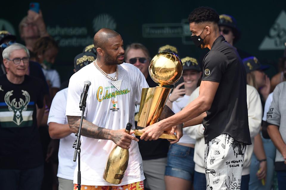 P.J. Tucker (left) was instrumental in Giannis Antetokounmpo and the Bucks winning the NBA title.