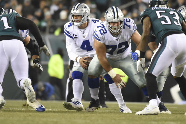 The retirement of center Travis Frederick (72) gave the Cowboys another draft need. (Photo by Andy Lewis/Icon Sportswire via Getty Images)
