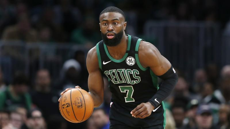 Boston Celtics' Jaylen Brown plays against the Houston Rockets during an NBA basketball game in Boston, Saturday, Feb. 29, 2020. (AP Photo/Michael Dwyer)
