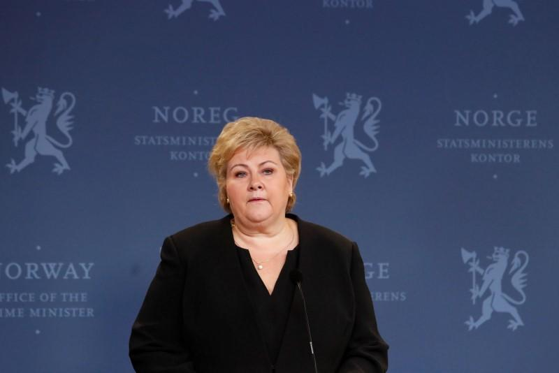 Norway's Prime Minister Erna Solberg attends a news conference in Oslo