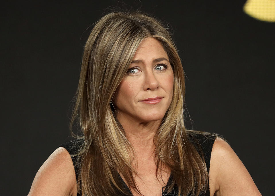 "Jennifer Aniston speaks at the ""The Morning Show"" panel during the Apple+ TCA 2020 Winter Press Tour at the Langham Huntington, Sunday, Jan. 19, 2020, in Pasadena, Calif. (Photo by Willy Sanjuan/Invision/AP)"