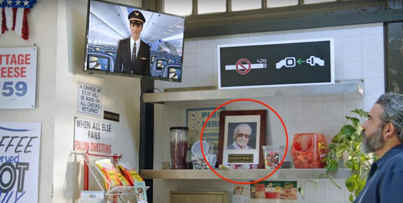 """Stan Lee makes a cameo in United's """"Fly Like a Superhero"""" safety video. (Photo: United Airlines)"""