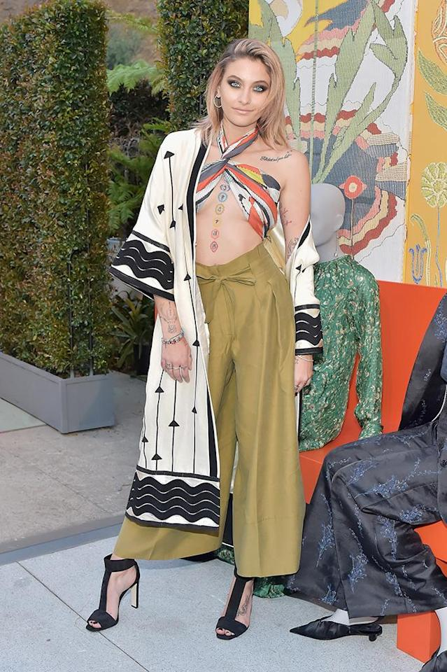 Paris Jackson attends the H&M celebration of 2018 Conscious Exclusive collection at John Lautner's Harvey House on April 5, 2018 in Los Angeles, California. (Photo by Stefanie Keenan/Getty Images for H&M)