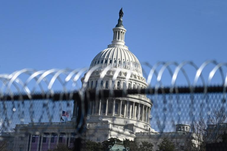 Barbed wire on a security fence surrounding the US Capitol, where Joe Biden will be inaugurated president on January 20