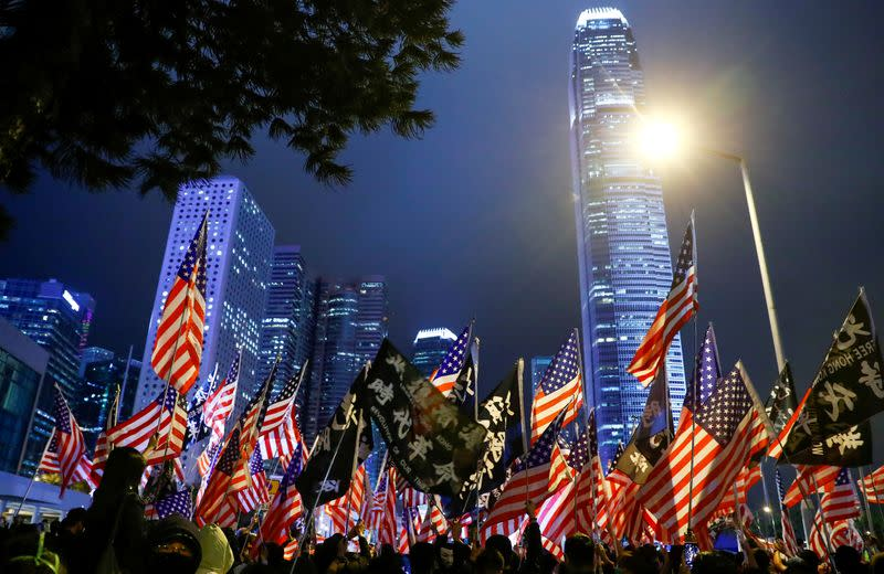 FILE PHOTO: Protesters attend a gathering at the Edinburgh place in Hong Kong
