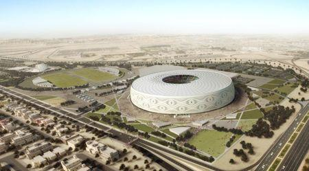 "Doha's Al Thumama stadium, designed by a Qatari architect in the shape of a traditional knitted ""gahfiya"" Arabian cap, is seen in this undated artist illustration released August 20, 2017. The Supreme Committee for Delivery & Legacy/Handout via REUTERS"