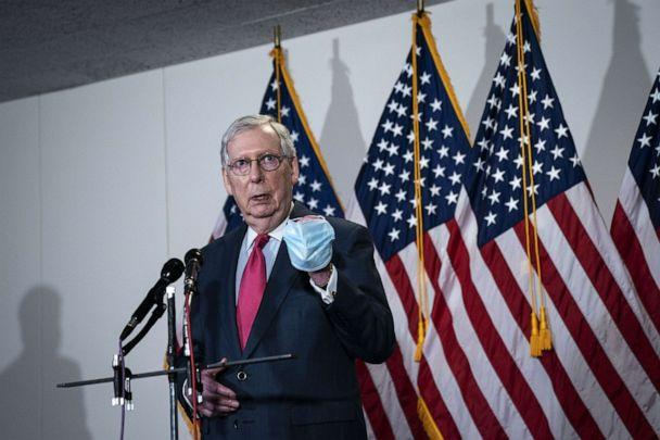 PHOTO: Senate Majority Leader Mitch McConnell (R-KY) speaks to the press after a meeting with Republican Senators in the Hart Senate Office Building on Capitol Hill, May 19, 2020. (Drew Angerer/Getty Images)