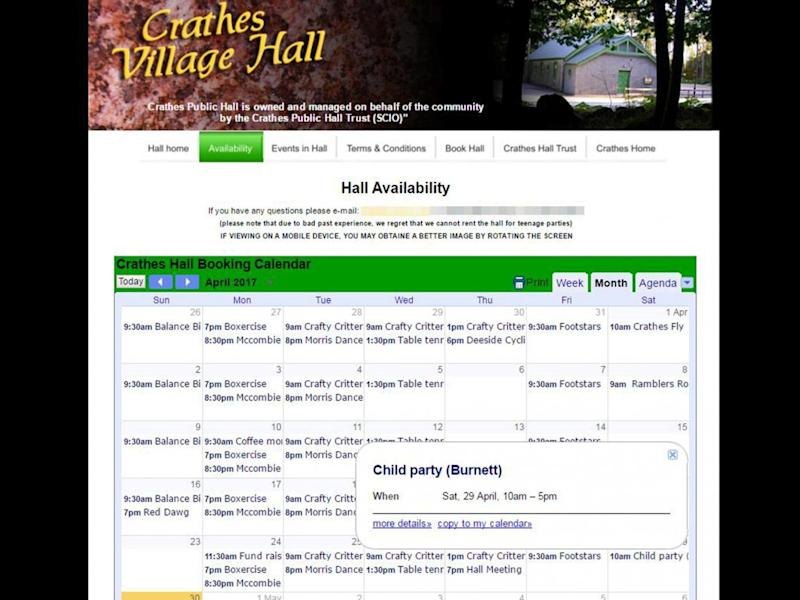 Crathes' Village Hall was apparently booked out for a child's birthday party at the time of the Prime Minister's visit on 29 April