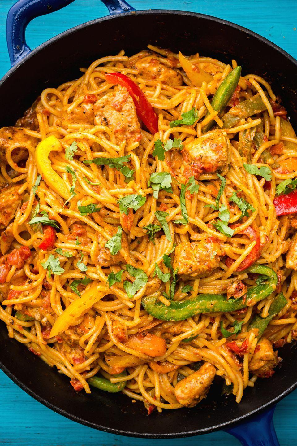 """<p>This pasta is SO creamy, with just the right amount of kick.</p><p>Get the recipe from <a href=""""https://www.delish.com/cooking/recipe-ideas/recipes/a46734/mexican-chicken-pasta-recipe/"""" rel=""""nofollow noopener"""" target=""""_blank"""" data-ylk=""""slk:Delish."""" class=""""link rapid-noclick-resp"""">Delish. </a></p>"""
