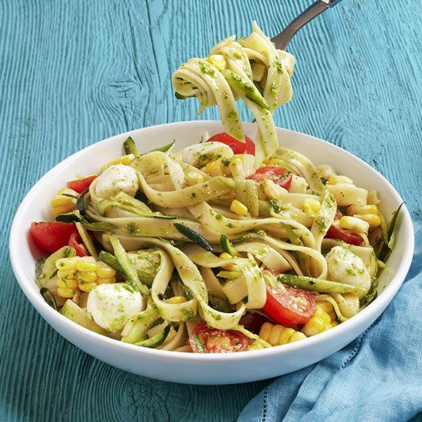 """<p>This summery recipe incorporates classic Italian colors and flavors, creating a light and tasty pasta dish.</p><p>Get the recipe from <a href=""""https://www.delish.com/cooking/recipe-ideas/recipes/a23214/pasta-tomatoes-zucchini-pesto-recipe-wdy0814/"""" rel=""""nofollow noopener"""" target=""""_blank"""" data-ylk=""""slk:Delish"""" class=""""link rapid-noclick-resp"""">Delish</a>.</p>"""