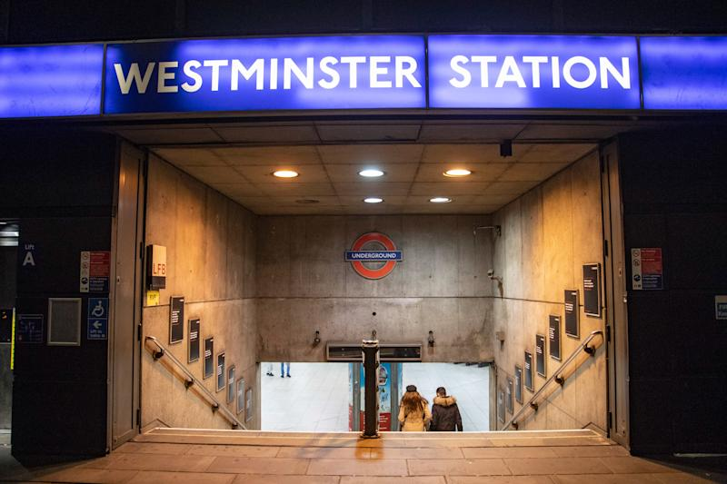 Westminster station in London, an underground tube station in the City of Westminster, London, UK serving the Circle, District and Jubilee lines. It was first opened in 1868 and is a deep level down station with platforms having edge doors. (Photo by Nicolas Economou/NurPhoto via Getty Images)