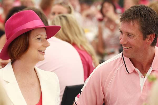SYDNEY, AUSTRALIA - JANUARY 05:  Australian Prime Minister Julia Gillard chats to Glenn McGrath at a Jane McGrath High Tea during day three of the Second Test Match between Australia and India at Sydney Cricket Ground on January 5, 2012 in Sydney, Australia.  (Photo by Mark Metcalfe/Getty Images)