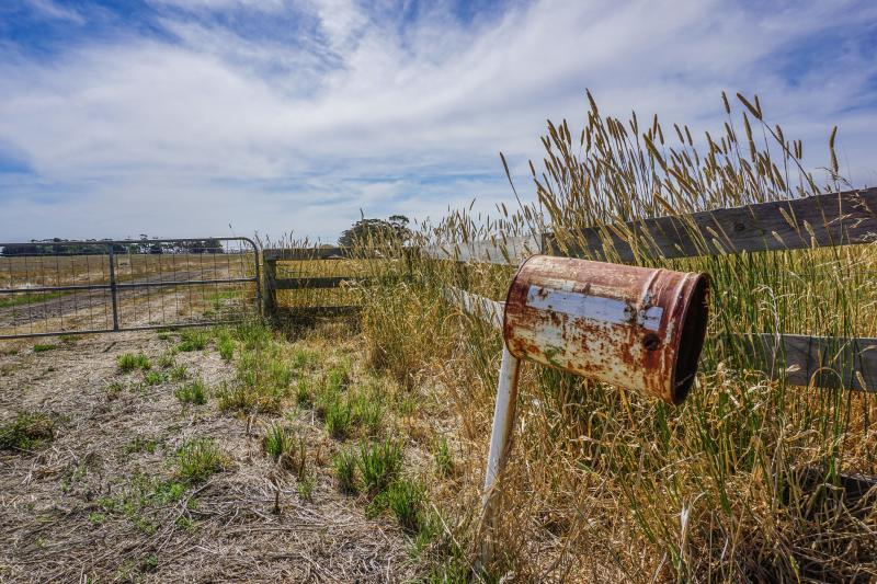 Letterbox at the gate of farm after three farmers are hand-delivered letters telling them to kill themselves.