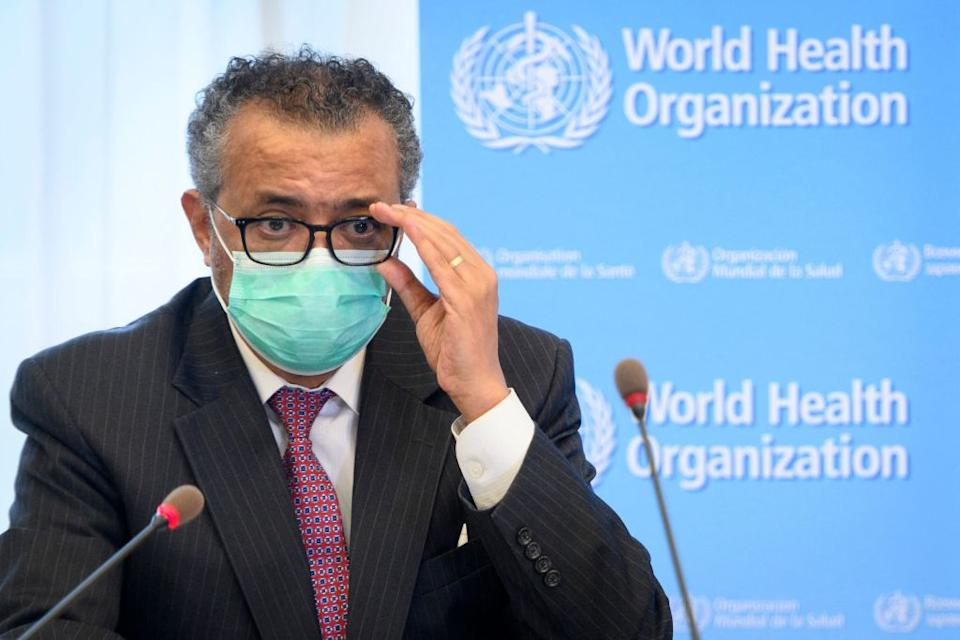 The Director General of the World Health Organisation (WHO) Tedros Adhanom Ghebreyesus speaks during a bilateral meeting with Swiss Interior and Health Minister before signing a BioHub Initiative with a global Covid-19 Pathogen repository in Spiez laboratory on the sideline of the opening of the 74th World Health Assembly at the WHO headquarters in Geneva.