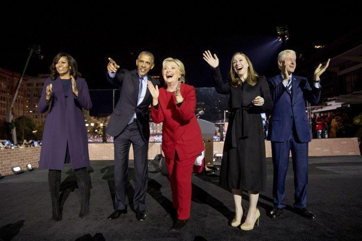 The Clintons and the Obamas at a rally at Independence Mall in Philadelphia. (Photo: Andrew Harnik/AP)