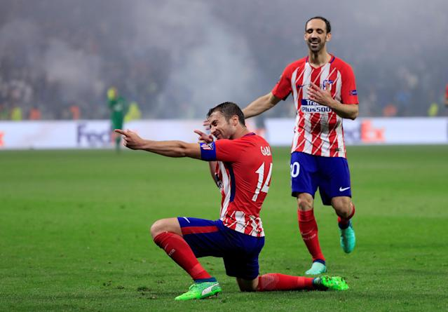 Soccer Football - Europa League Final - Olympique de Marseille vs Atletico Madrid - Groupama Stadium, Lyon, France - May 16, 2018 Atletico Madrid's Gabi celebrates scoring their third goal REUTERS/Gonzalo Fuentes TPX IMAGES OF THE DAY