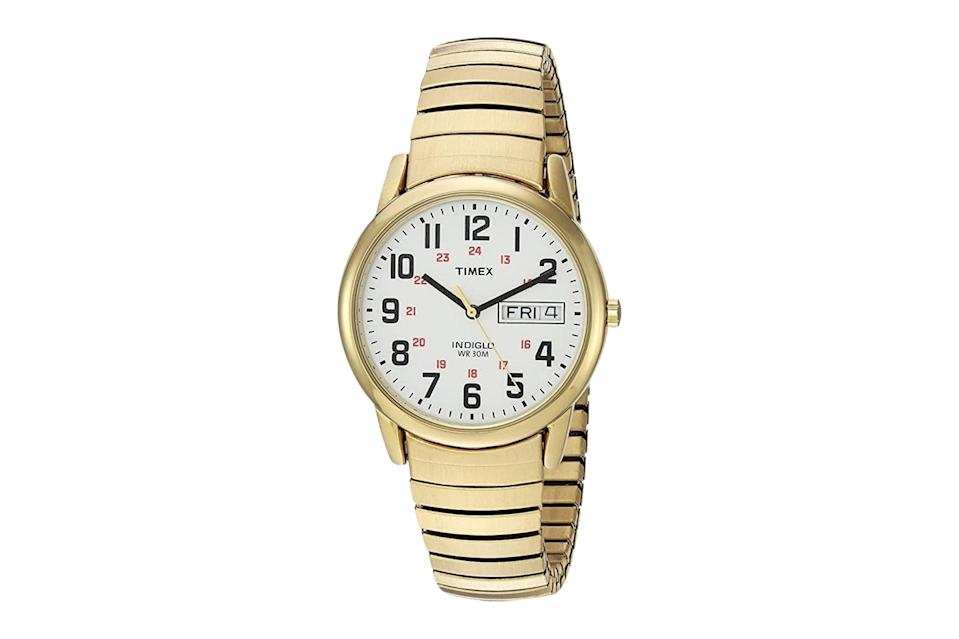 """$57, Amazon. <a href=""""https://www.amazon.com/Timex-T2N092-Gold-Tone-Extra-Long-Stainless/dp/B004X3ZE9W/ref=sr_1_49?dchild=1&pf_rd_i=9538491011&pf_rd_m=ATVPDKIKX0DER&pf_rd_p=be3d3a7a-9dda-4773-8a78-8b09a876cce0&pf_rd_r=S67BS9G9ASTCNPCRGPR1&pf_rd_s=merchandised-search-8&pf_rd_t=101&qid=1615398218&refinements=p_n_specials_match%3A21213697011&rnid=2528832011&s=apparel&sr=1-49"""" rel=""""nofollow noopener"""" target=""""_blank"""" data-ylk=""""slk:Get it now!"""" class=""""link rapid-noclick-resp"""">Get it now!</a>"""