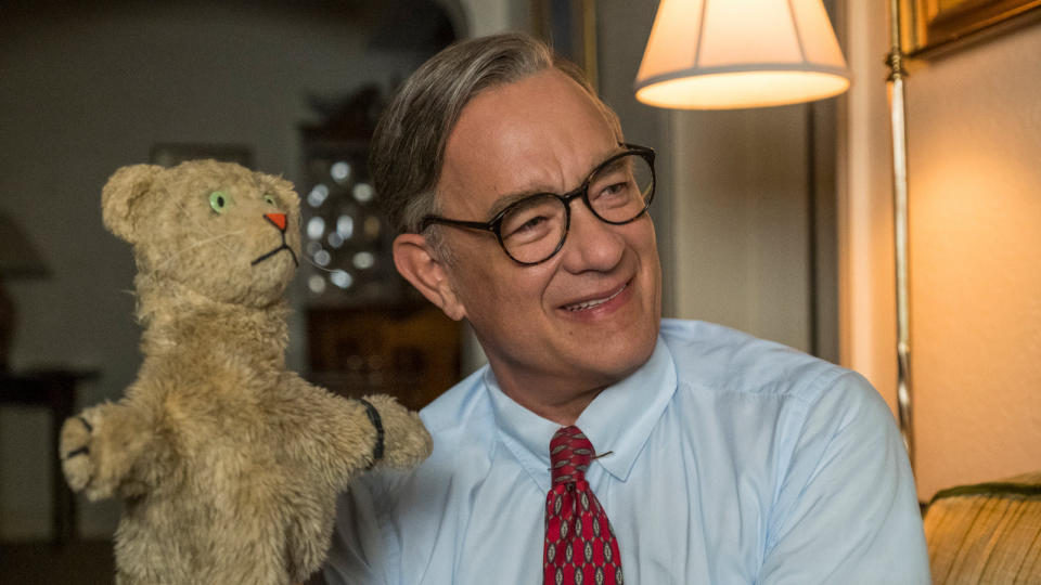 "<a href=""https://uk.movies.yahoo.com/tagged/tom-hanks"" data-ylk=""slk:Tom Hanks"" class=""link rapid-noclick-resp"">Tom Hanks </a>as US children's TV icon Mister Rogers is about as perfect as movie casting gets. Marielle Heller's innovative biopic follows a journalist writing a magazine piece on Rogers, while dealing with turmoil in his own life. (Credit: Sony)"