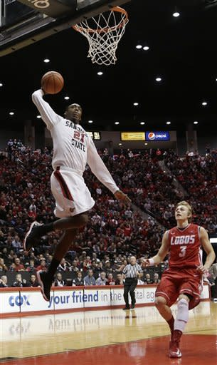 San Diego State's Jamaal Franklin is on his way to a dunk as New Mexico's Hugh Greenwood looks on in the second half during an NCAA college basketball game Saturday, Jan. 26, 2013, in San Diego. San Diego State won, 55-34. (AP Photo/Gregory Bull)