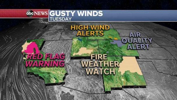 PHOTO: This morning, five states from California to Wyoming are under fire, wind and air quality alerts. (ABC News)