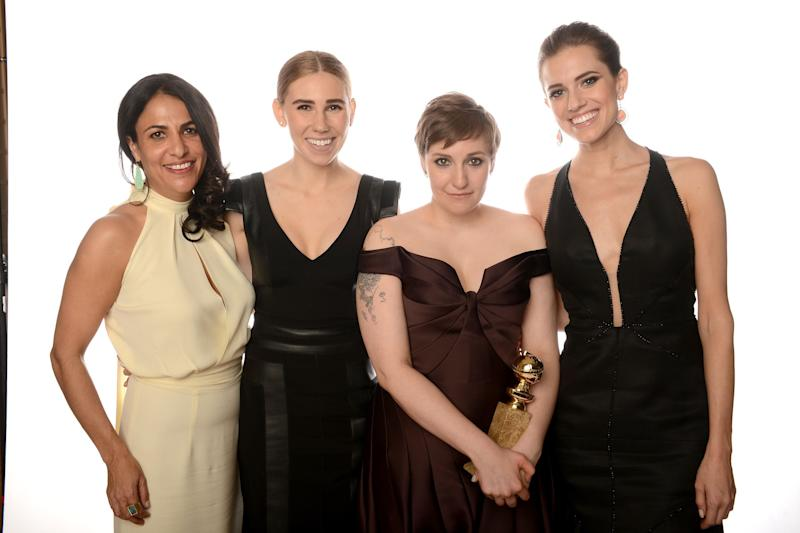 BEVERLY HILLS, CA - JANUARY 13: (L-R) Writer/Producer Jennifer Konner, actresses Zosia Mamet, Lena Dunham and Allison Williams of 'Girls' pose for a portrait at the 70th Annual Golden Globe Awards held at The Beverly Hilton Hotel on January 13, 2013 in Beverly Hills, California. (Photo by Dimitrios Kambouris/Getty Images)