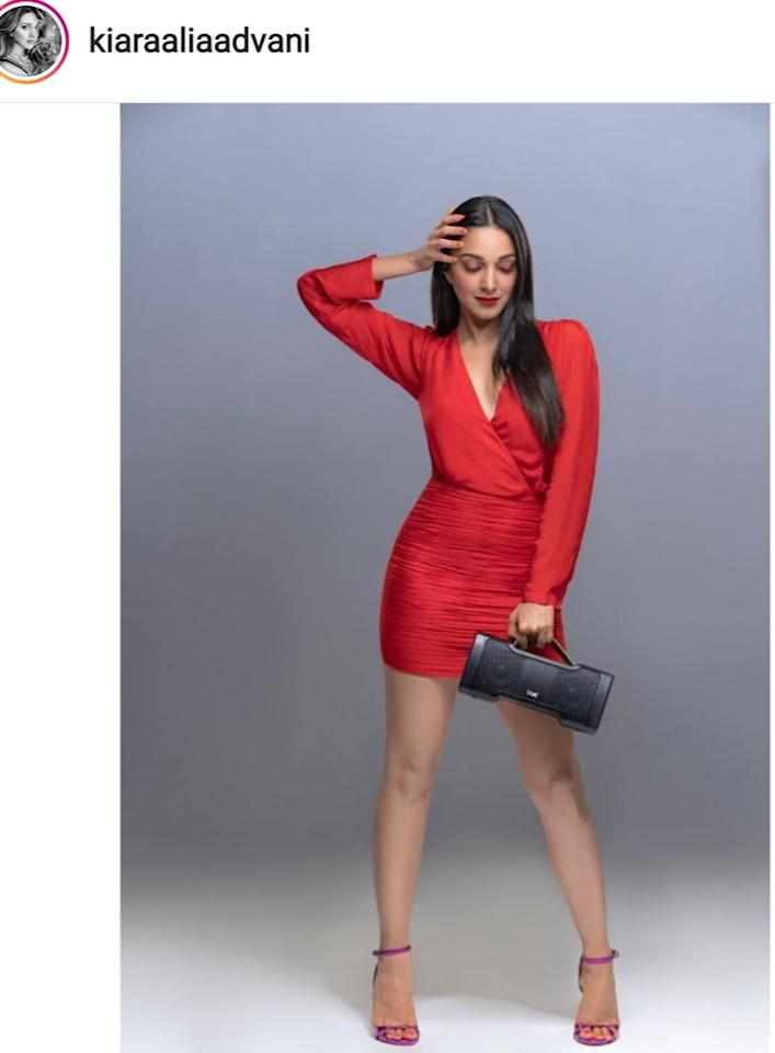 The <em>Kabir Singh</em> actress made many stunning appearances this month, all while promoting her second release for the year, <em>Good Newwz</em>. Our favorite among all these appearances would be this cherry red mini dress with all its Christmas vibes. Apart from that one plunging neckline meant to add the glam quotient, the outfit was quite simple and classy. We are digging the matching strappy heels and the pop of red on her nude face.