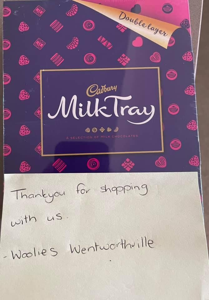 Box of chocolate with handwritten thank you note. Source: Facebook