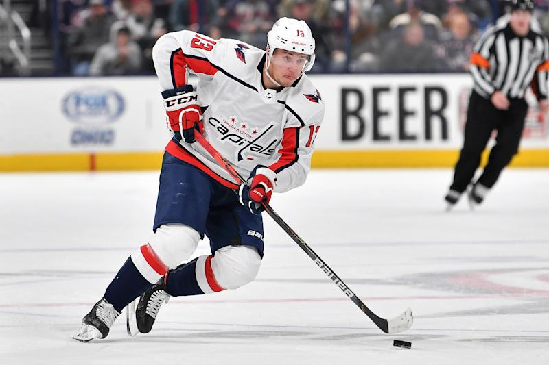 COLUMBUS, OH - DECEMBER 16: Jakub Vrana #13 of the Washington Capitals skates against the Columbus Blue Jackets on December 16, 2019 at Nationwide Arena in Columbus, Ohio. (Photo by Jamie Sabau/NHLI via Getty Images)