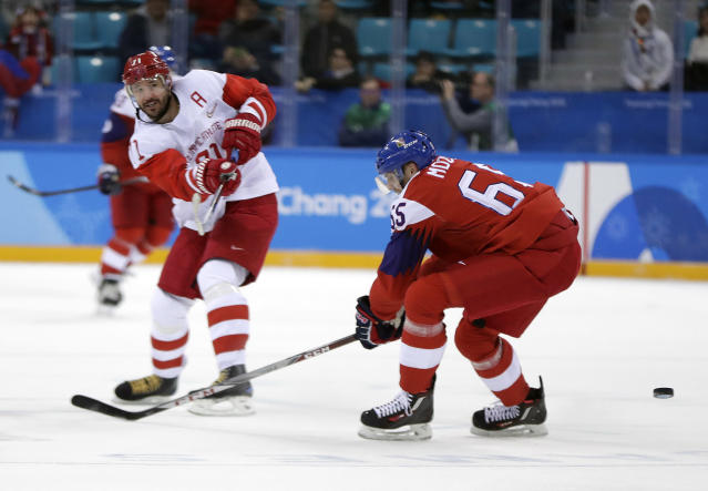 Russian athlete Ilya Kovalchuk (71) shoots a goal against the Czech Republic during the third period of the semifinal round of the men's hockey game at the 2018 Winter Olympics in Gangneung, South Korea, Friday, Feb. 23, 2018. Olympic Athletes from Russia won 3-0. (AP Photo/Julio Cortez)