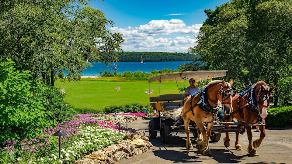 Bikes and horses and buggies are the main modes of transportation on Mackinac Island, a car-free destination situated between Michigan's Lower and Upper Peninsulas.