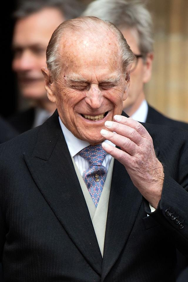Something tickles Prince Philip
