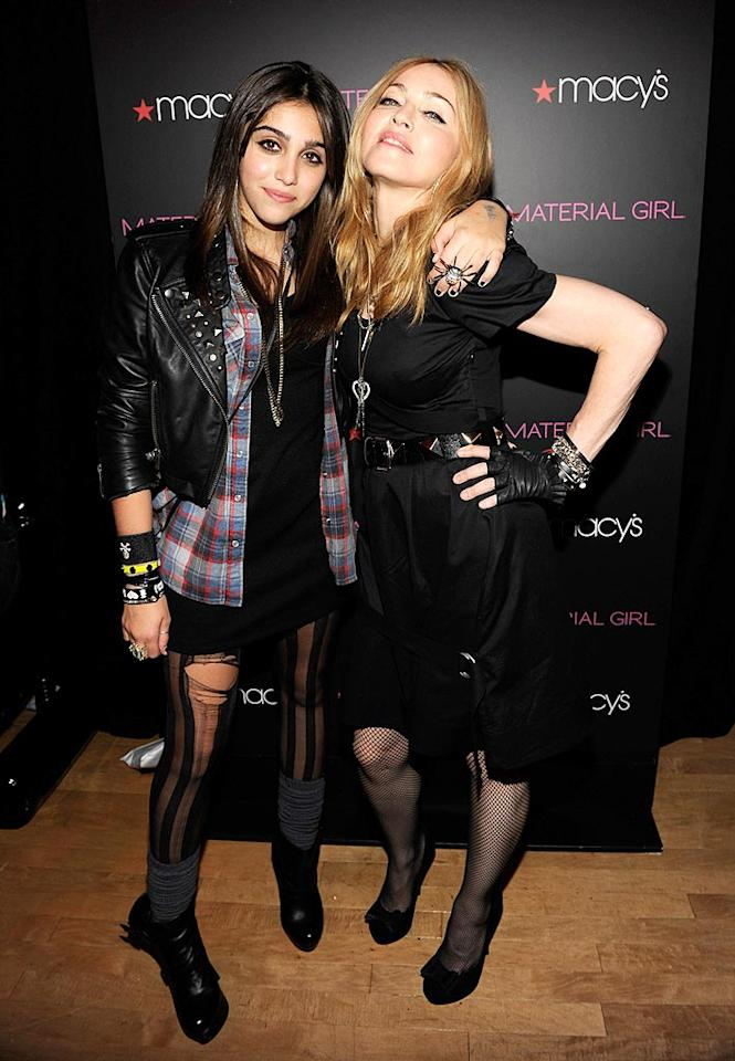 "Madonna posed proudly with her 13-year-old daughter Lourdes (aka Lola) Leon at the launch party for their new clothing line, Material Girl, at Macy's. ""I've achieved many things in my life, but I have to say that watching my daughter make her dreams come true and achieve her goals is the most exciting thing I've ever done,"" gushed the Queen of Pop. Kevin Mazur/<a href=""http://www.wireimage.com"" target=""new"">WireImage.com</a> - September 22, 2010"