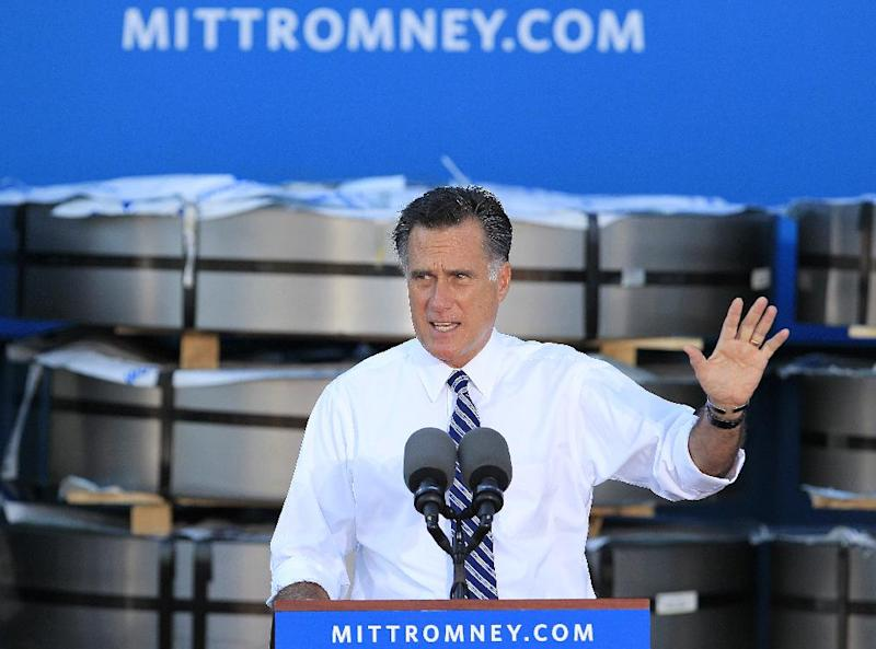 Republican presidential candidate, former Massachusetts Gov. Mitt Romney gestures as he speaks at a campaign rally at Worthington Steel, Thursday, Oct. 25, 2012, in Worthington, Ohio. (AP Photo/Jay LaPrete)