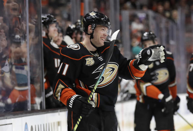 Anaheim Ducks' Daniel Sprong (11) celebrates after scoring against the Los Angeles Kings during the second period of an NHL hockey game Friday, April 5, 2019, in Anaheim, Calif. (AP Photo/Marcio Jose Sanchez)
