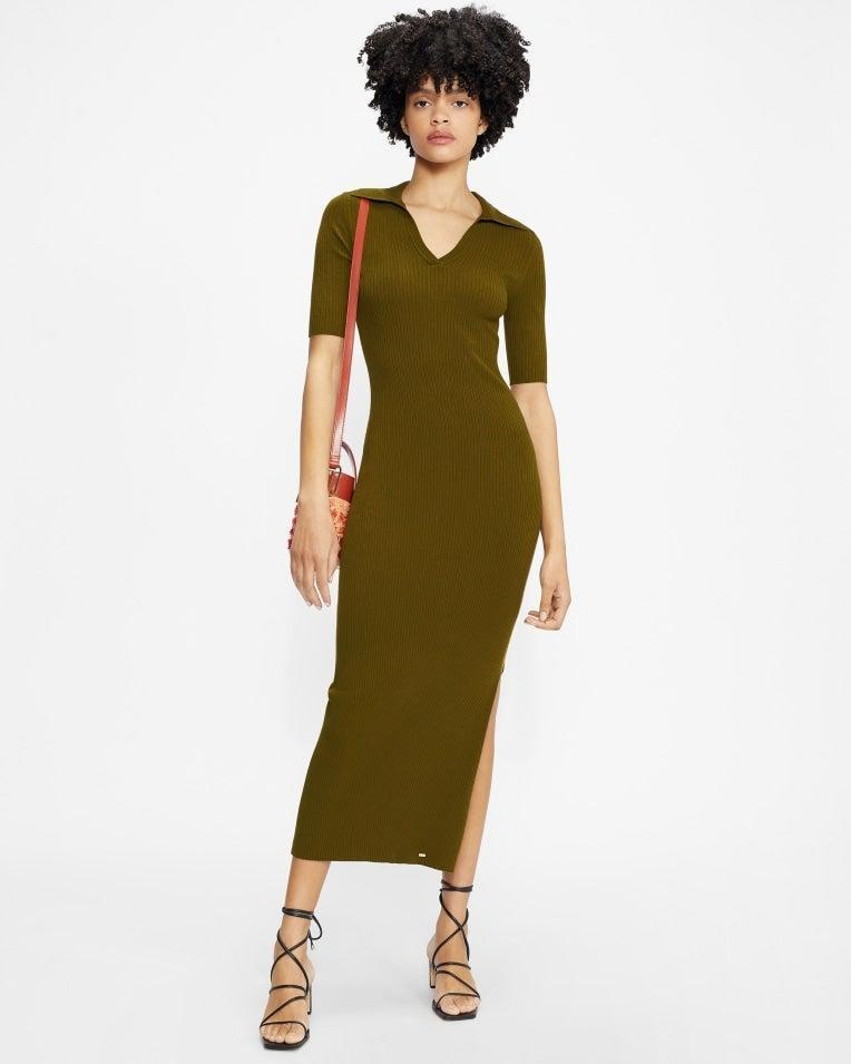 """Don't worry, I'm not stepping into autumn just yet. This khaki polo dress is actually surprisingly lightweight and will add to my slowly growing collection of clothes that aren't black. Hooray!<br><br><strong>Ted Baker</strong> PILEEPA Polo midi dress, $, available at <a href=""""https://www.tedbaker.com/uk/Womens/Clothing/Dresses/PILEEPA-Polo-midi-dress-Khaki/p/255915-KHAKI"""" rel=""""nofollow noopener"""" target=""""_blank"""" data-ylk=""""slk:Ted Baker London"""" class=""""link rapid-noclick-resp"""">Ted Baker London</a>"""