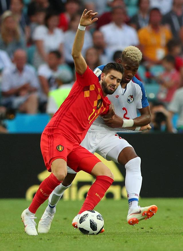 Soccer Football - World Cup - Group G - Belgium vs Panama - Fisht Stadium, Sochi, Russia - June 18, 2018 Belgium's Yannick Carrasco in action with Panama's Michael Amir Murillo REUTERS/Hannah McKay