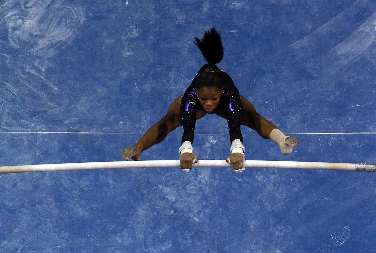 SAN JOSE, CA - JULY 01:  Gabrielle Douglas competes on the uneven bars during day 4 of the 2012 U.S. Olympic Gymnastics Team Trials at HP Pavilion on July 1, 2012 in San Jose, California.  (Photo by Ronald Martinez/Getty Images)