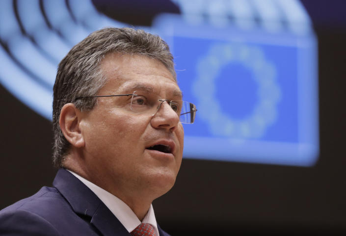 """FILE - In this file photo dated Tuesday, April 27, 2021, European Commissioner for Inter-institutional Relations and Foresight Maros Sefcovic speaks during a debate at the European Parliament in Brussels. The European Union's chief Brexit negotiator Maros Sefcovic says the bloc is ready to act """"firmly and resolutely"""" if the U.K. fails to honor its commitments under the divorce deal that was supposed to keep trade flowing after the Britain left the EU according to information published Tuesday June 8, 2021. (Olivier Hoslet, Pool FILE via AP)"""