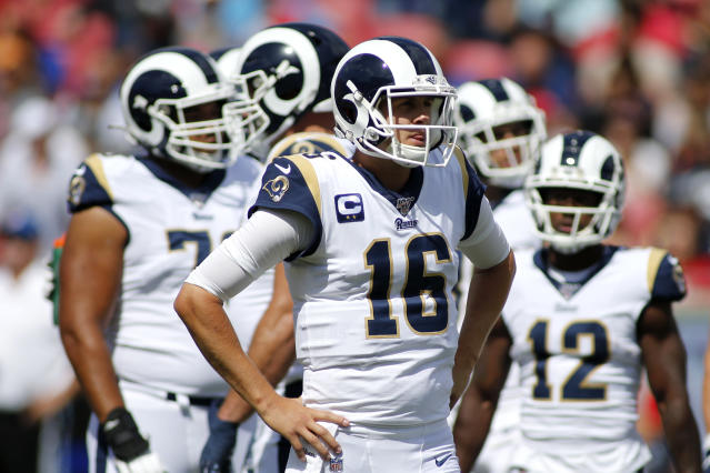Rams quarterback Jared Goff had four turnovers against Tampa Bay. (Getty Images)