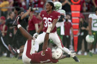 Stanfords' Jaden Slocum (36) and Jacob Mangum-Farrar (14) celebrate after defeating Oregon in an NCAA college football game in Stanford, Calif., Saturday, Oct. 2, 2021. (AP Photo/Jed Jacobsohn)